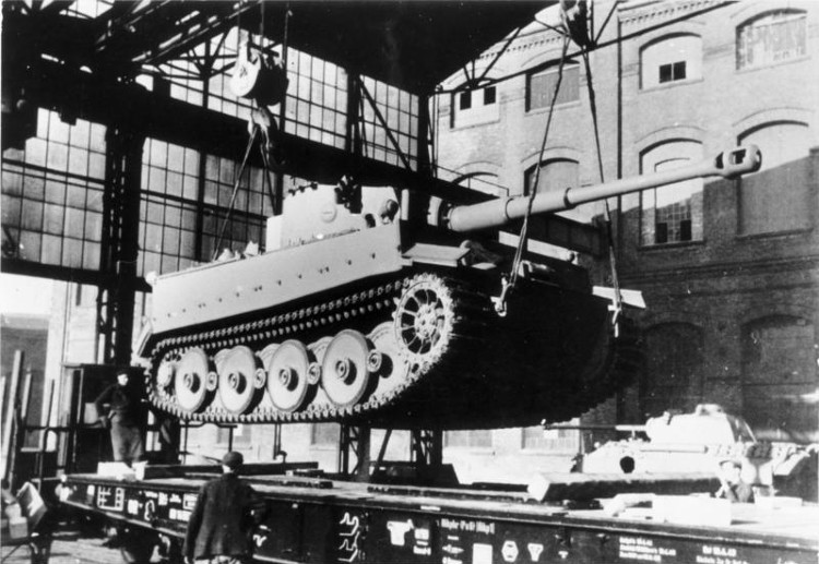 Tiger tank at the Henschel plant is loaded onto a special rail car