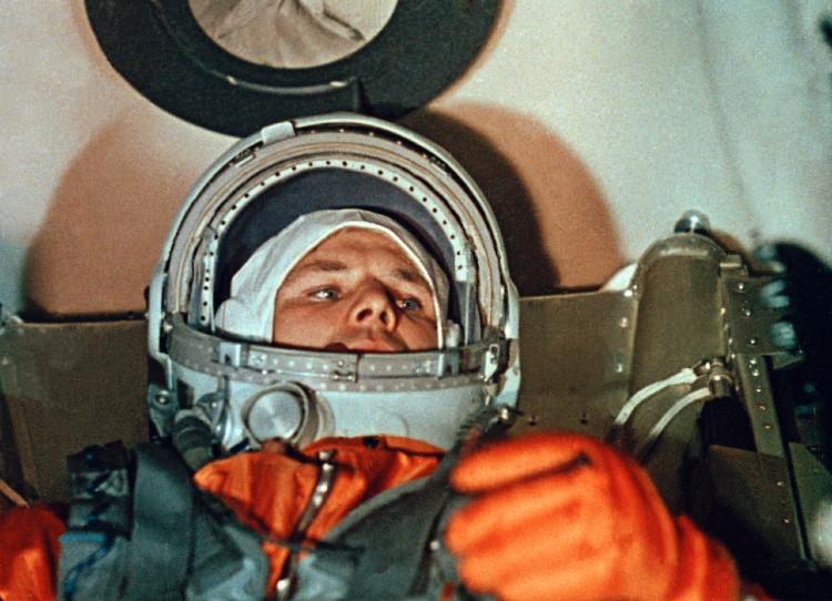 Cosmonaut Yuri Gagarin aboard Vostok 1 spacecraft