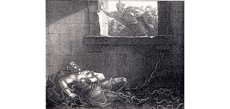 Etching by Hugo Hamilton, depicting Ælla of Northumbria's murder of Ragnar Lodbrok