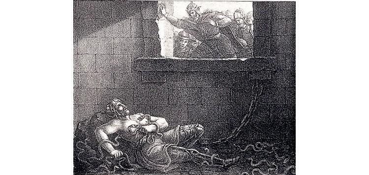 Etching by Hugo Hamilton, depicting Ælla of Northumbria's murder of Ragnar Lodbrok