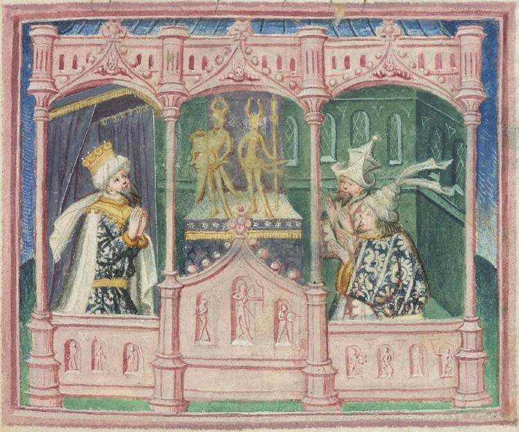 Lothbrok, king of Danes, and his sons Hinguar and Hubba worshiping idols