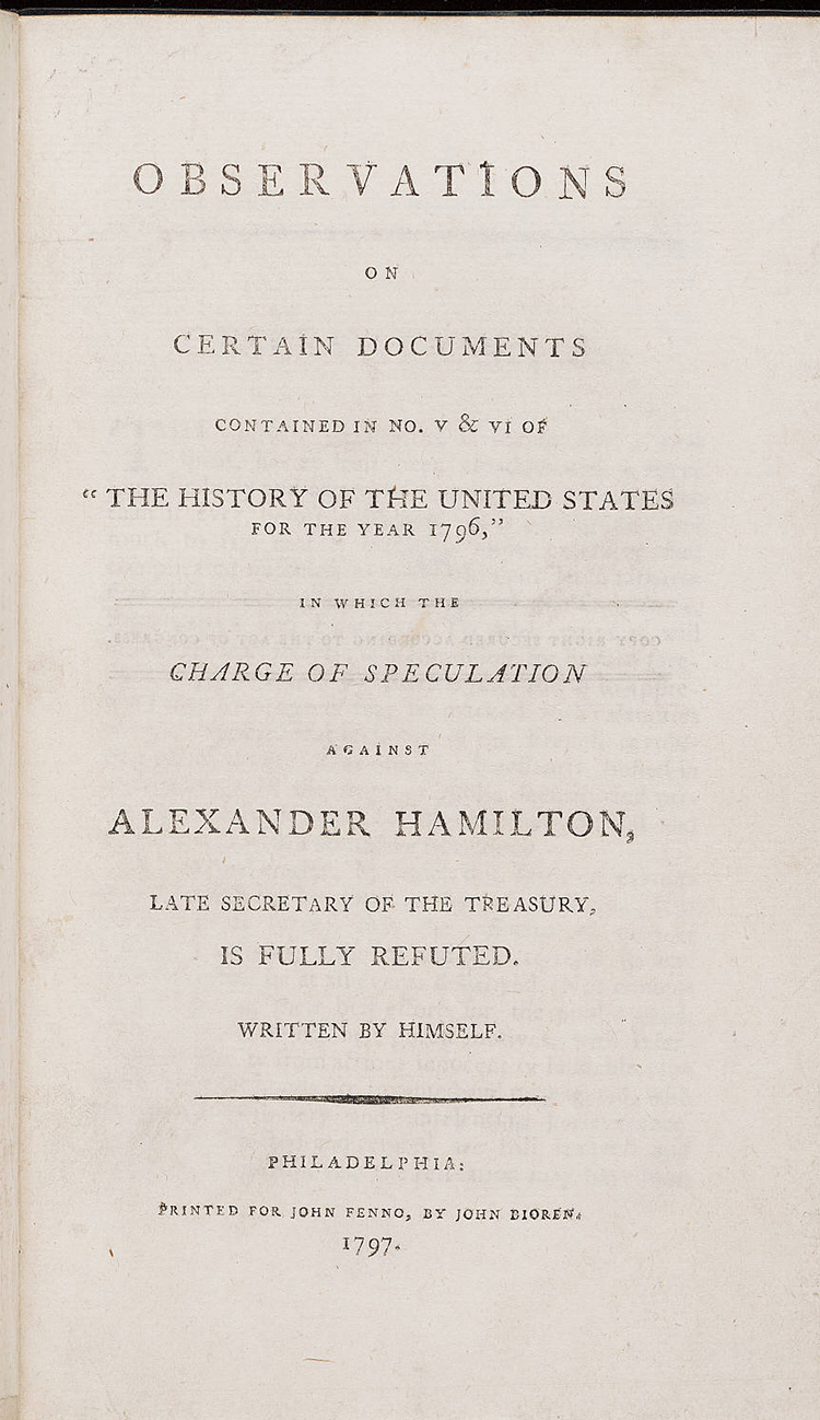Alexander Hamilton's refutation of his affair