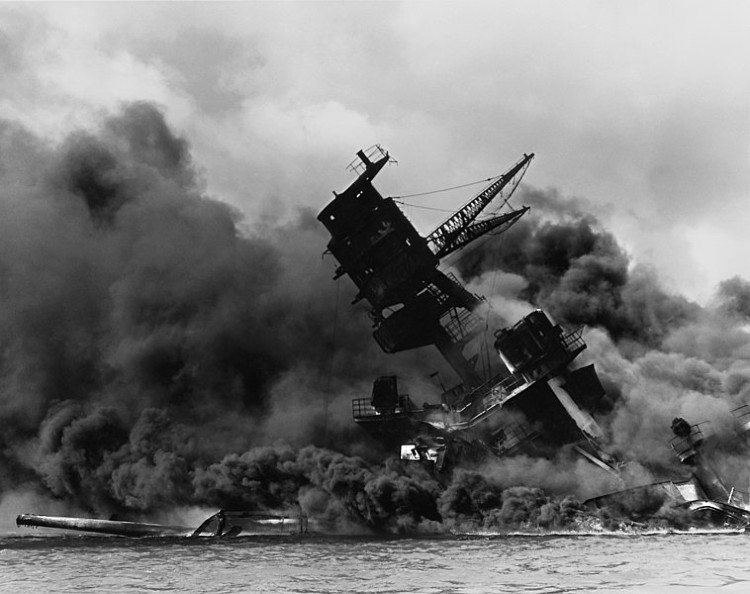 The USS Arizona (BB-39) burning after the Japanese attack on Pearl Harbor