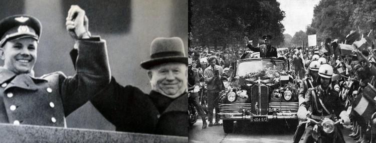 Yuri Gagarin with Nikita Khrushchev and in parade through Warsaw