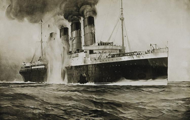 lusitania torpedo u boat drawing